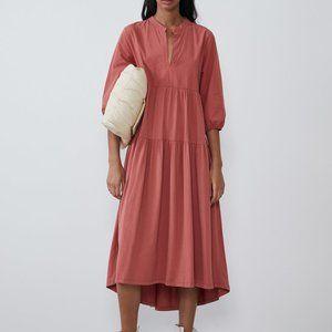 ZARA Pale Coral Pink Contrasting Midi Dress